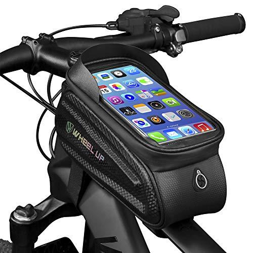GARDOM Bolsas de Bicicleta,Bolsas Manillar Impermeable Bolsa Táctil de Tubo de Ciclismo con Funda para Teléfono con Pantalla Táctil para iPhone X / 8/7 Plus / 7 / 6s / 6 Plus / 5s (Letra Morado)