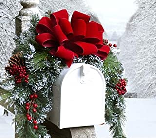 Floral Home Decor Christmas Mailbox Cover with Flocked Snow CR1048