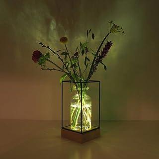 Gadgy® Jarrón decorativo con luz led | Florero vidrio con Base de madera natural y diseño de metal l 22.5 x 10.8 x 10,8 cm
