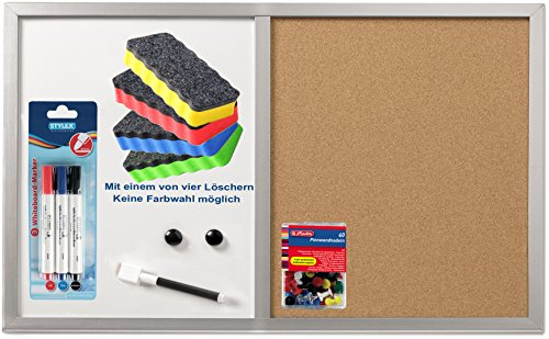 Herlitz 10685394 Pinnwand und Magnettafel, 40x60cm mit Holzrahmen, silber/Kombi-Set (inkl. Marker, Löscher & Nadeln)