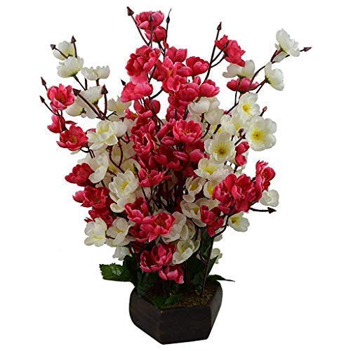 Hyperboles Bonsai Blossom Artificial Flowers With Wooden Pot(17inch)