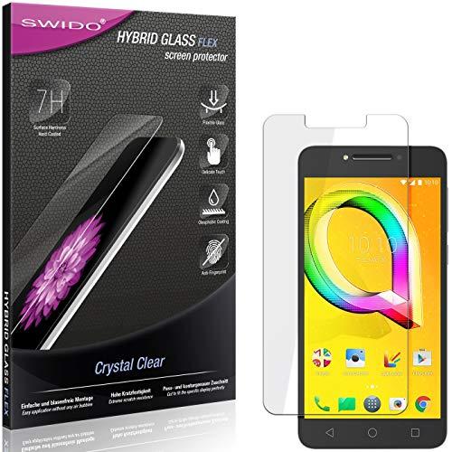 SWIDO Panzerglas Schutzfolie kompatibel mit Alcatel A5 LED Bildschirmschutz-Folie & Glas = biegsames HYBRIDGLAS, splitterfrei, Anti-Fingerprint KLAR - HD-Clear