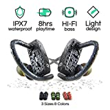Pop Design Wireless Bluetooth Sport Earbuds for Running, Workouts and Exercise, HiFi Stereo, IPX7 Waterproof Headphones with Mic and Noise Cancelling, Best 8 Hour Battery Life