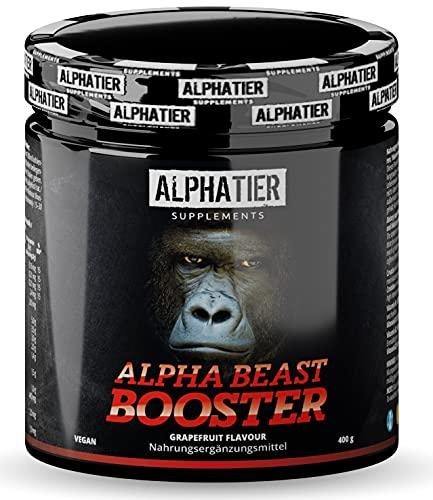 Pre-Workout BOOSTER - hochdosiert + vegan - Alpha Beast Shake - Koffein, Citrullin, L-Arginin, Creatin, ß-Alanin, Betain HCL - ALPHATIER BEASTMODE - Grapefruit-Geschmack 400g
