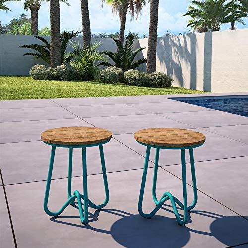 Novogratz 88195TNOE 5 Piece Poolside Bobbi Outdoor Bistro Set, Turquoise