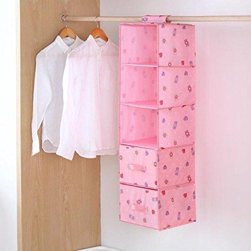 Pink Candy Pattern Drawer Garde-robe Sac de rangement Hanging Clothing Sous-vêtements Sac de rangement Five Layers (27 * 28 * 102cm) Rollsnownow (Couleur : Three drawers)