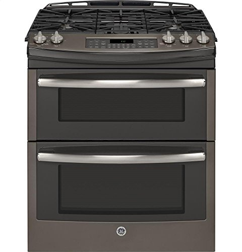 GE PGS950EEFES Profile 30' Slate Gas Slide-In Sealed Burner Double Oven Range - Convection