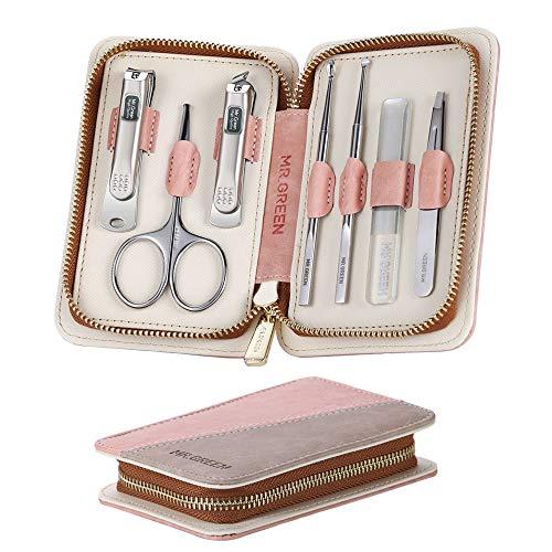 Maniküre Pediküre Set, 7-teiliges professionelles Nagelpflege Nagelknipser etui, Nageletui Reise Beauty Kit mit Ledertasche, tragbares Reise-Nagelknipser-Set für Männer Frauen (Rosa Grau)