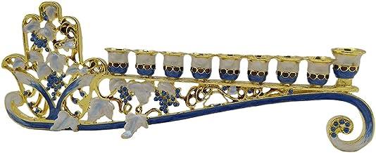 Fenteer Blue Enamel Menorah Candelabrum Floral Pattern Bejeweled Candle Holder Party