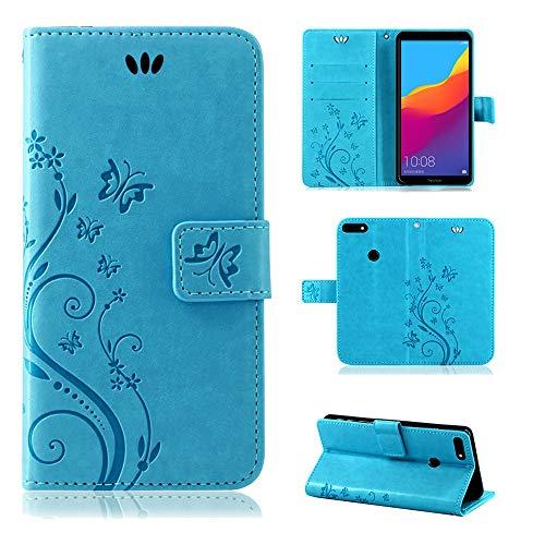 betterfon | Huawei Y7 2018 Flower Hülle Handytasche Schutzhülle Blumen Klapptasche Handyhülle Handy Schale für Huawei Honor 7C Blau