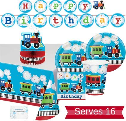 Check Out This Train Party Supplies and Decorations - Plates Cups Napkins for 16 People - Includes B...