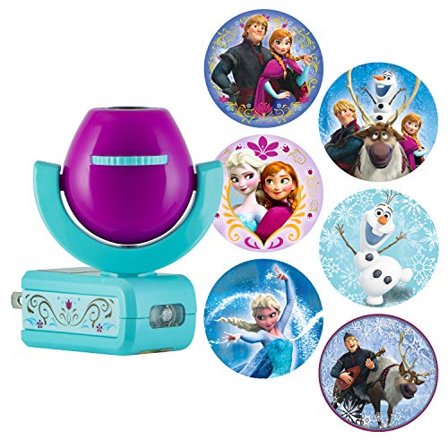 Projectables 25282 Six Image Frozen LED Plug-In Night Light, Purple and Teal, Light Sensing, Auto On/Off, Projects Disney Characters Elsa, Olaf, Anna, Kristoff, and Sven on Ceiling, Wall, or Floor