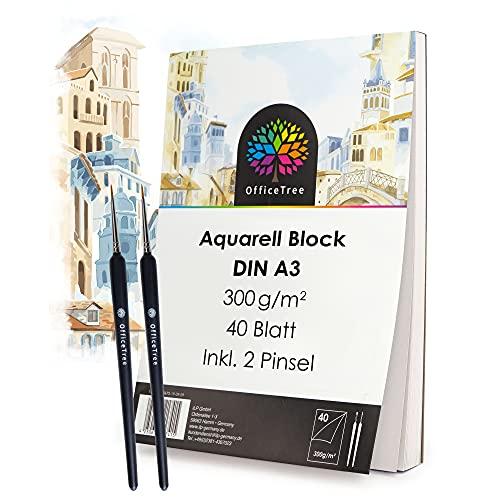 OfficeTree 40 Blatt Aquarellblock A3 300g - Aquarellpapier Weiß – Zeichenblock A3 für Wasserfarben - 2 Pinsel gratis