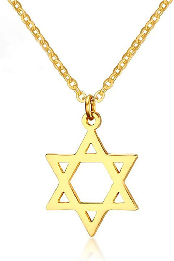 AILUOR 18K Gold Plated Megan Star of David Pendant Necklaces, Six Pointed Megan Star Jewish Israel Jewelry for Women/Men Hip Hop Jewelry