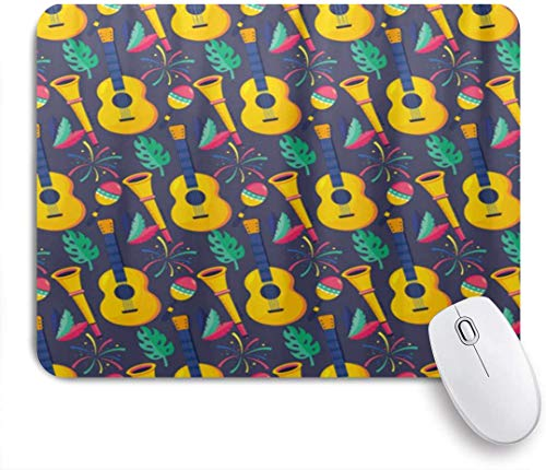 MOBEITI Gaming Mouse Pad,Guitar Trumpet Maracas Feathers Background,9.5