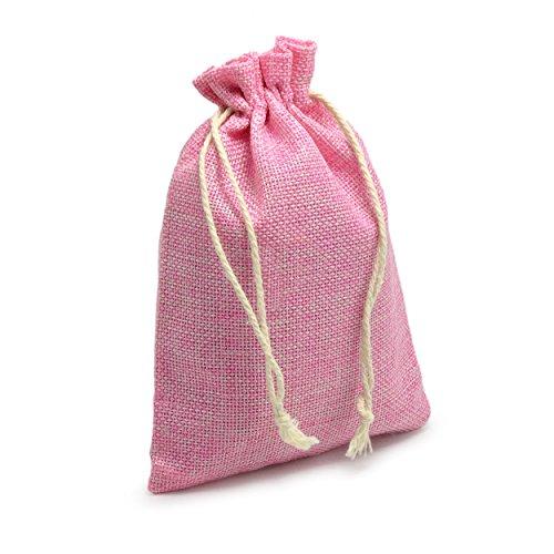 Ganzoo 24er Set Jutesäckchen für Adventskalender zum selbst befüllen, 17,5cm x 12,5cm, Jutebeutel, Stoffbeutel, Natur Säckchen, Geschenksäckchen, Sack, Beutel – Marke (Pink)
