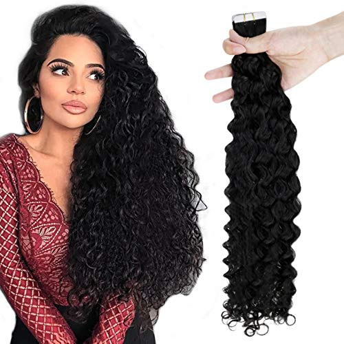 RUNATURE Tape Hair Extensions Human Hair Remy Hair Extension Tape In Off Black Extensions Natural Wave 18 Inches 2.5g/pc 50g Per Pack Skin Weft Tape Remy Hair Extensions Glue Extensions