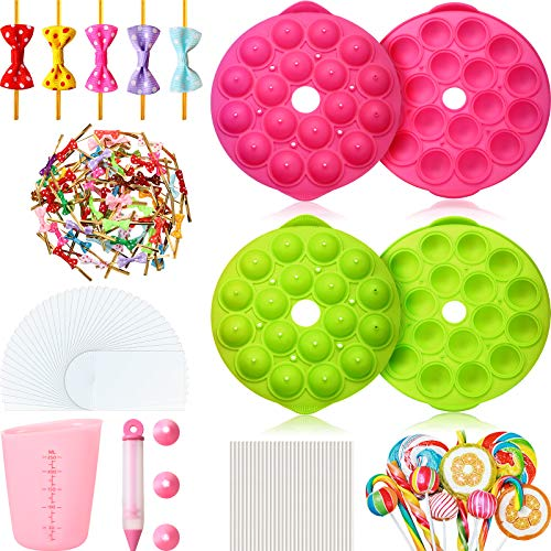 2 Sets Cake Pop Maker Set 3D 18-Hole Round Cake Pop Mold Silicone Lollipop Mold with 100 Pieces Plastic Lollipop Sticks, 100 Pieces Cake Pop Bags, 100 Pieces Colorful Bow Twist Ties for DIY Candy Pop