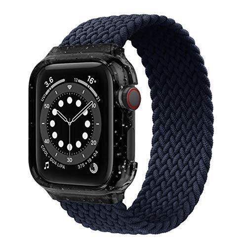 Bucle individual trenzado de tela para Apple Watch Band Case + Correa pulsera para Apple Watch Series 4 5 Se 6