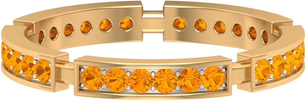 1.6 MM Long Max 54% OFF Beach Mall Lab Created Orange Eternity Sapphire Band Ring Gol