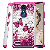 COTDINFOR LG K10 2018 Hülle Bling Diamond Handyhülle Heavy Duty Protective Dual Layer Silicone Plastic Armor Shock Absorbing Etui für LG K30 (2018). 2 in 1- Red Butterflies YB
