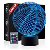 Basketball 3D Illusion Birthday Gift Lamp, Gawell 16 Colors Changing Touch Switch Xmas Decoration Night Light Remote Control Acrylic Flat & ABS Base & USB Cable Toy for Basketball Sport Fans