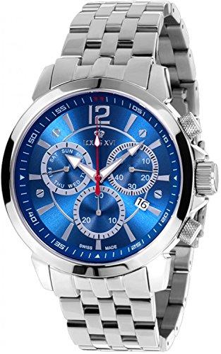 LOUIS XVI Herren-Armbanduhr Athos le Grand Stahlband Silber Blau Chronograph Analog Quarz Edelstahl 622