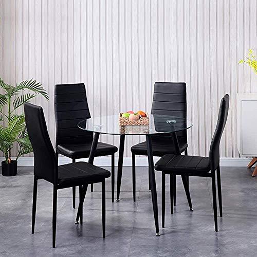 Mesas redondas modernas y elegantes y sillas de comedor, una pequeña combinación de comedor redonda de cuatro conjuntos de mobiliario de oficina para la sala de estar,Black