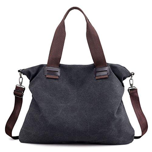 Sunshinejing Women Canvas Shoulder Tote Work Hobo Bag Vintage Purse Handbag for School Shopping Business Travel (Black)