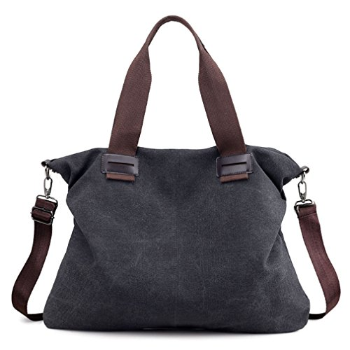 Women's Canvas Vintage Hobo Tote Purse Top Handle Shoulder Bag Handbags (Black)