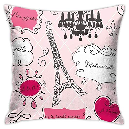 Cup Off Doodle Frames In French Style Rococo Baroque Lantern Mademoiselle Print Pillow Case, Home Sofa Bedroom Pillowcase