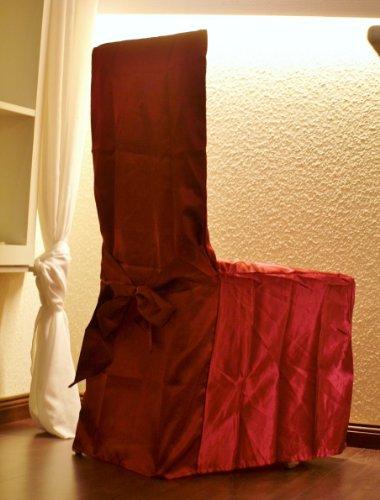 Festliche Stuhlhusse in elegantem Satin mit dekorativer Schleife Farbe wein- rot