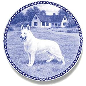White Shepherd - American-Canadian - Dog Plate made in Denmark from the finest European Porcelain. Premium Quality and Design from Lekven. Perfect Gift For all Dog Lovers. Size - 7.61 inches. 7