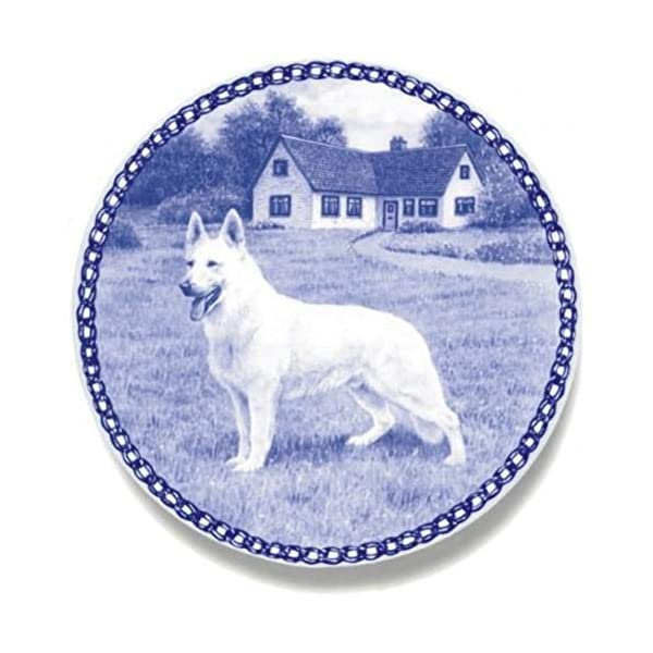 White Shepherd - American-Canadian - Dog Plate made in Denmark from the finest European Porcelain. Premium Quality and Design from Lekven. Perfect Gift For all Dog Lovers. Size - 7.61 inches. 1