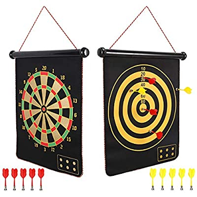 Mixi Magnetic Dart Board for Kids, Outdoor Toys Kids Games Double Sided Dart Board Games Set for Boys with 10 Darts, Best Toys Gifts for Teenage Boys Girls Age 5 6 7 8 9 10 11 12 13 14 15 16 Years from HanxiDirect