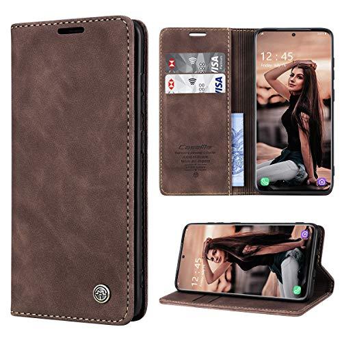 RuiPower Handyhülle für Samsung Galaxy S20 Hülle Premium Leder PU Flip Hülle Wallet Lederhülle Klapphülle Magnetisch Silikon Schutzhülle für Samsung Galaxy S20 Tasche (6.2'') - Koffee