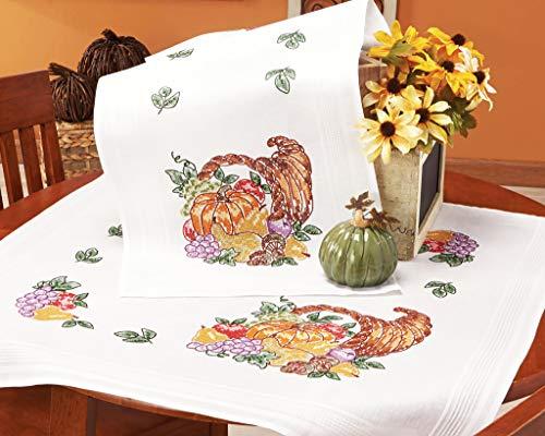 Kamaca Stickpackung Tischdecke Obst MIT KÜRBIS Kreuzstich vorgezeichnet aus Baumwolle Stickset mit Stickvorlage (Tischläufer 40x100 cm)