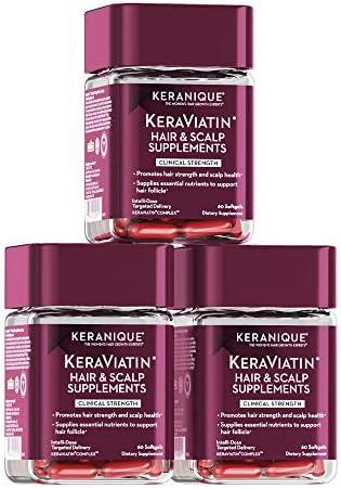 Keranique Hair Growth Vitamins KeraViatin Hair Scalp Health Supplement Clinical Strength Biotin product image