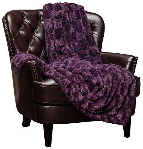 Chanasya Fuzzy Faux Fur Elegant Rectangular Embossed Throw Blanket - Plush Sherpa Microfiber Purple Blanket for Bed Couch (60x70 Inches) Aubergine