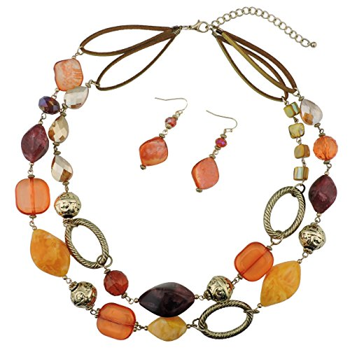 Bocar 2 Strand Statement Choker Shell Necklace and Earring Set for Women Gift (NK-10370-orange+Yellow+Wine)
