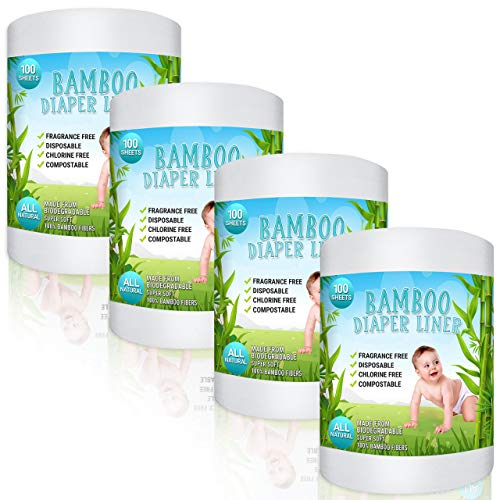 Bamboo Diaper Liners - Fragrance Free Cloth Diaper Liners - Disposable Flushable Bamboo Diaper Liners 400 Sheets for Cloth Diaper Nappy - (4 Pack) Gentle and Soft, Chlorine and Dye-Free