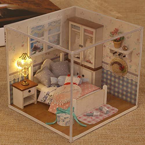 Festnight Miniature Super Mini Doll House Building Kit Kit di Giocattoli in Legno Giocattoli Fai da Te Dollhouse Girl Camera da Letto Whispers Caldi
