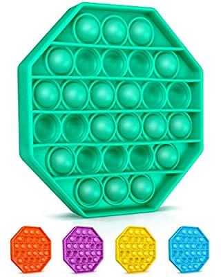 Colplay Pop Pop Fidget Toys,Push Pop Bubble Fidget Sensory Toy,Autism Special Needs Silicone Stress Relief Toy,Great Fidget Toy Sensory Toys Novelty Gifts for Girls Boys Kids Adults?Green-Octagon?