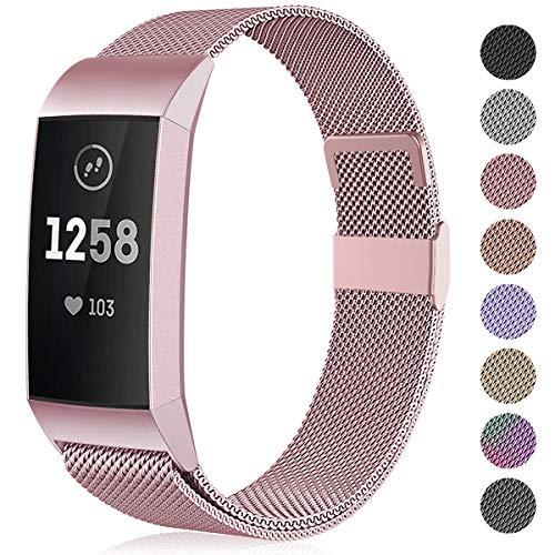 Funbiz Compatible con Fitbit Charge 3 Correa/Fitbit Charge 4 Correa, Banda de Reemplazo Ajustable Acero Inoxidable Correas para Fitbit Charge3/Charge 4/Charge 3 SE, Pequeña Oro Rosa