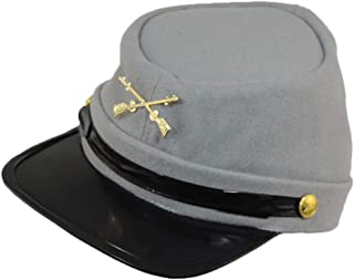 100% Wool Men's Civil War Replica Kepi Hat S/M Grey