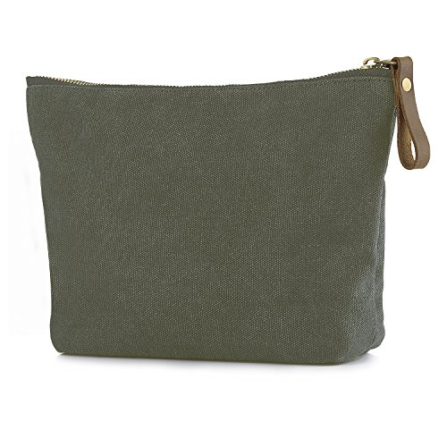 SMRITI Canvas Large Makeup Bag Pouch Purse Cosmetic Organizer for Women (Army Green)