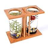 ZNN Fish Tank-Acuario ecológico de bambú con Doble Mesa de bambú, diseño Ultra silencioso, no es fácil de Usar, fácil de Limpiar, Adecuado para el hogar y la Oficina