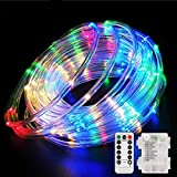 Aityvert 39ft/12M 120 LED RGB Rope Lights, Battery Operated Rope Lights 8 Modes Waterproof String Light with Remote Timer, Outdoor Decoration Lighting for Christmas Tree Patio Garden Party Wedding