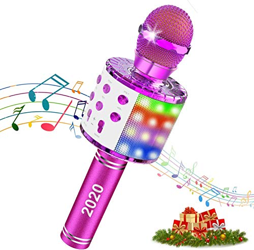 Wireless Bluetooth Karaoke Microphone, 4 in 1 Magic Sound Portable Handheld Home Party KTV Player Karaoke Machine for Kids Adults with LED Lights, Compatible with Android & iOS/PC (Purple)