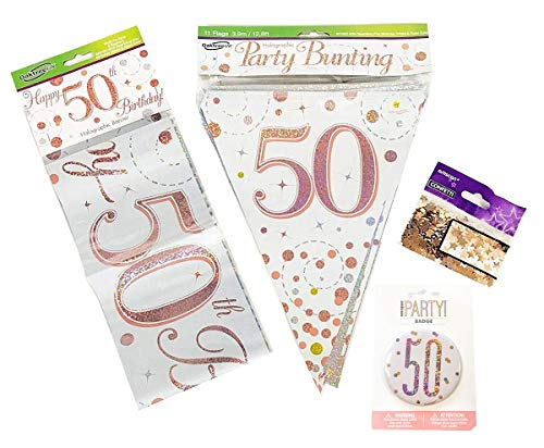 Neon Candy •50th Birthday Decorations Banner Bunting Confetti Badge Age Rose Gold Him Her Men Women Milestone Party Supplies Room Home Wall Hanging Garland Foil